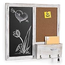 MyGift Wall Mounted Chalkboard & Cork Board Rack with Mail Sorter & Key Hooks