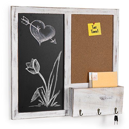 MyGift Wall Mounted Chalkboard & Cork Board Rack with Mail Sorter & Key ()