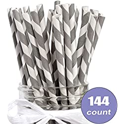 Eco-Friendly Bulk Paper Straws Pack of 144 Count for Weddings, Party, Shower, Crafts (Grey Stripe)