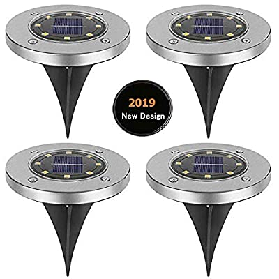Solar Ground Lights,Solar Disk Lights 8 LED Outdoor Waterproof Solar Garden Lights for Pathway Outdoor in-Ground Lawn Yard Deck Patio Walkway - Warm White (4 Pack)