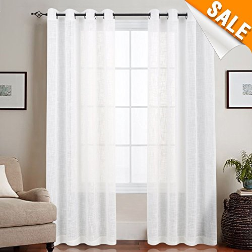 Linen Like Sheer Curtains for Living Room Open Weave Grommet Top Window Treatments for Bedroom 1 Pair 55