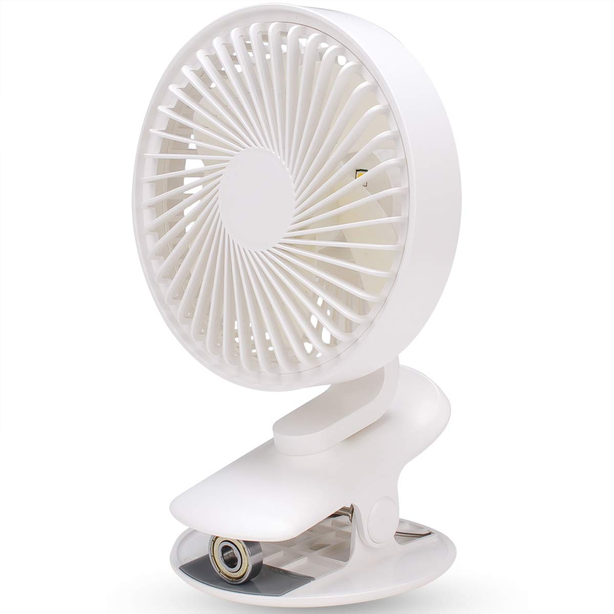 Clip on Fan with Night Light, LBTbate Personal Mini Desk Table Fan, Rechargeable Battery Operated or USB Powered, 360° Rotating, Portable Fan for Baby Stroller Home Office Camping Outdoor by LBTbate