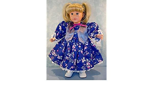 Royal Blue Calico Dress and Vest handmade by Jane Ellen to fit 18 inch dolls 18 Inch Doll Clothes