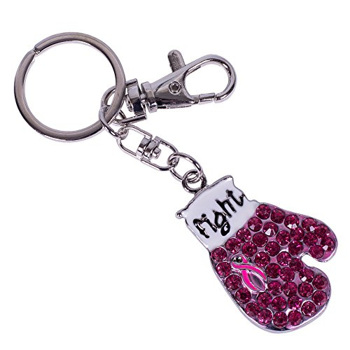 Pink Ribbon Key Ring (Fight Against Breast Cancer Boxing Glove Pink Ribbon Keychain)