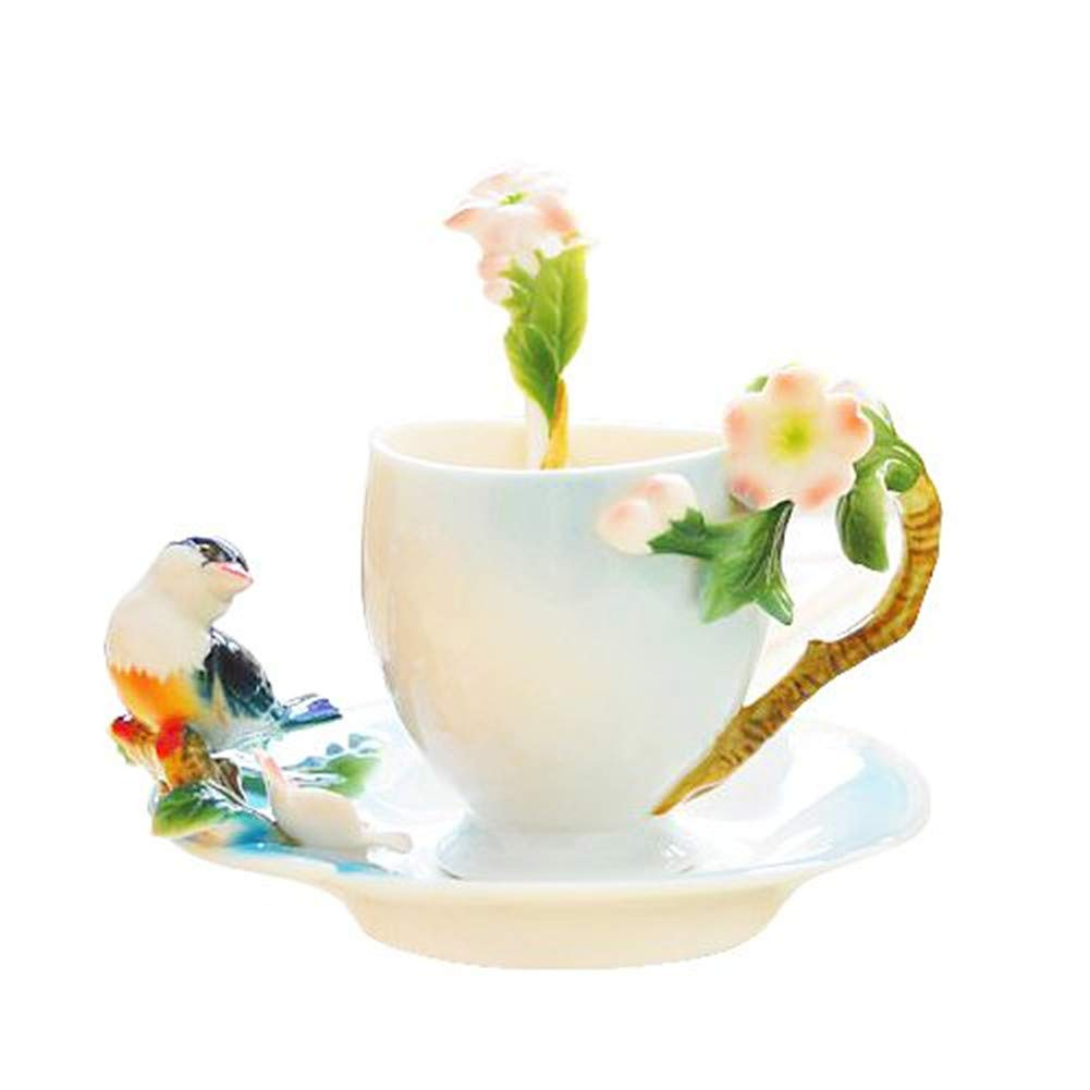 Glodeals (TM) Porcelain Enamel Delicate Bird Tea Coffee Cup Set with Saucer and Spoon SYNCHKG064709