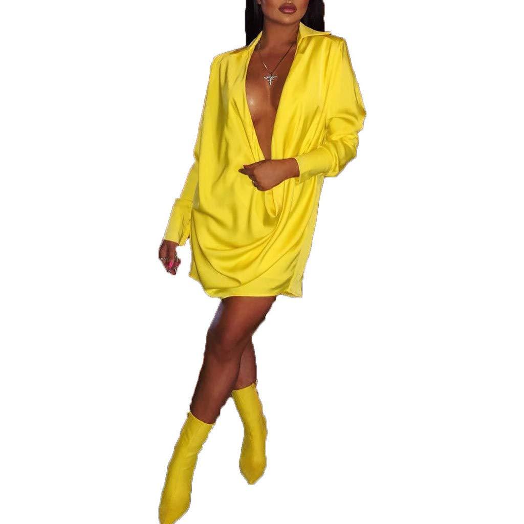 ★ZFK_DRESS Women's Deep V Neck Long Sleeve Loose Party Club Cocktail Evening Mini T Shirt Dress Yellow