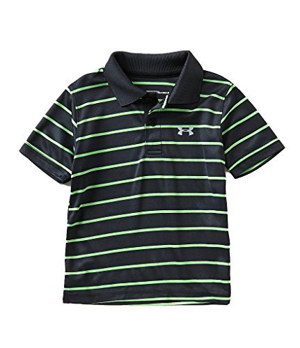 Under Armour Boys' UA Logo Short Sleeve Polo (18 Months, Black (27D74083-01)/Action Green/Reflective Silver)