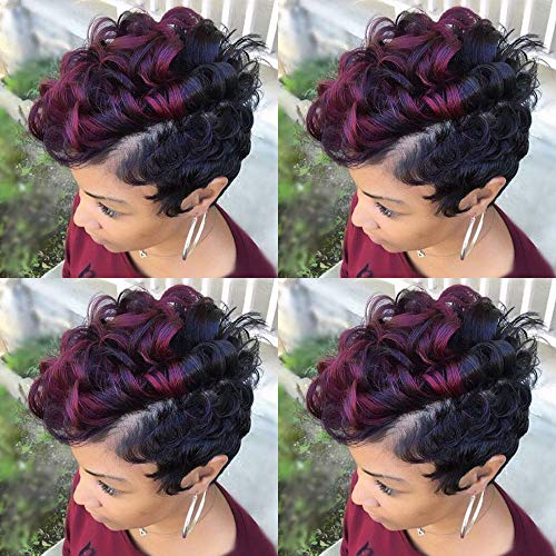 BeiSD Short Curly Ombre Burgundy Wig Curly Synthetic Wigs For Black Women Short Pixie Curly Hair Wigs For Women Mixed Red Wig Burgundy Black 2 Tones Wigs -