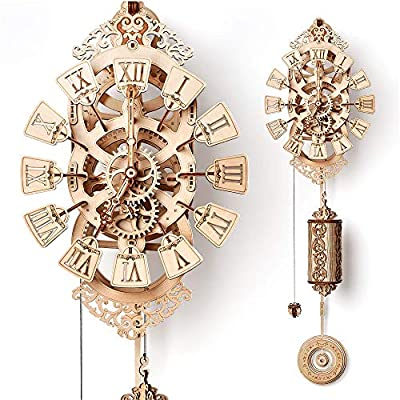 Wood Trick Pendulum Wall Clock Kit to Build, Wooden DIY Wall Clock Big - No Batteries - 3D Wooden Puzzle - 3D Wall Clock Mechanical Model: Toys & Games