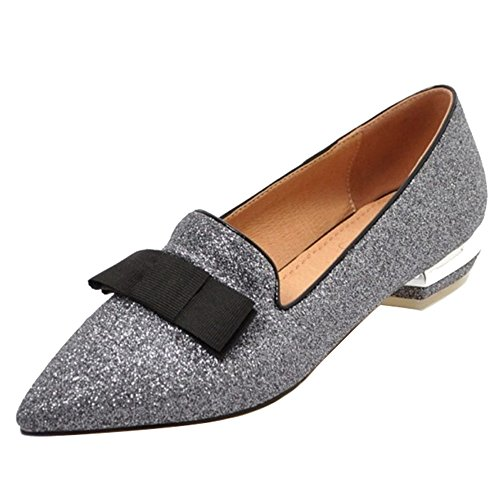 SJJH Court Shoes with Low Heel and Pointed Toe Casual Shoes with Bling Materail Black