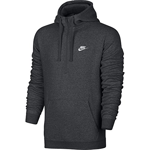 Nike Mens Sportswear Half Zip Club Fleece Hooded Sweatshirt Charcoal Grey/White 812519-071 Size 2X-Large