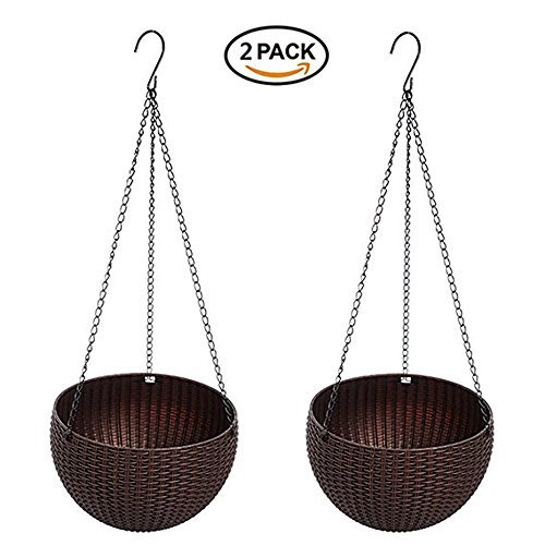 U-House Hanging Basket Rattan Plastic Flower Pot Round Resin Garden Hanging Planter for Indoor Outdoor Plants 2 Pack ()