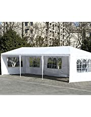 10'x30'White Outdoor Tent Awning Wedding Party Tent Pavilion-5, Awning Camping Tent Camping Pavilion Barbecue, Large Commercial Terrace Tent