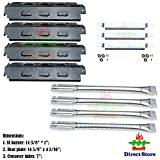 Direct store Parts Kit DG156 Replacement Charbroil 463420507,463420509,463460708,463460710 Gas Grill Burners, Carryover Tubes,Heat Plates (SS Burner + SS Carry-over tubes + Porcelain Steel Heat Plate)
