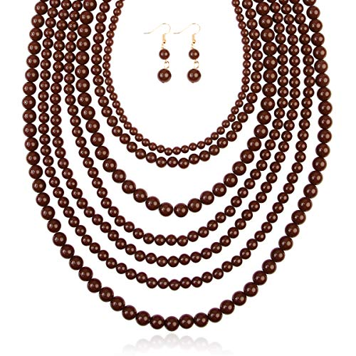 RIAH FASHION Multi Layer Beaded Bubble Statement Necklace - Round Ball Chunky Drape Bib Collar 7 Strands (Brown) ()