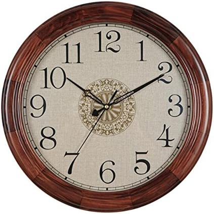 Justup Wood Wall Clock, 14-inch Large Non-Ticking Vintage Decorative Wall Clocks Battery Operated with Mute Analog Quartz Movement HD Glass Large Numbers for Kitchen Bedroom Indoor Decoration