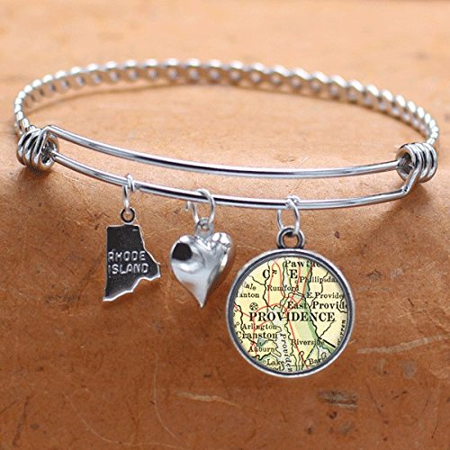 Map Charm Bracelet Providence RI State of Rhode - Providence Place Rhode Island