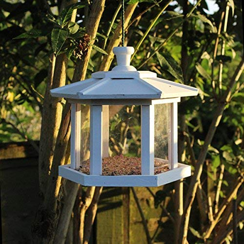 Color blanco de madera hexagonal Conservatory colgante para pájaros nido nido caja cámara: Amazon.es: Productos para mascotas
