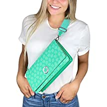 Controller Gear Animal Crossing: New Horizons Sling Bag for Women, Girl's, Kids. Nintendo Switch & Switch Lite Case, Accessories, Travel Bag, Carrying Case. Teal Leaves. - Nintendo Switch