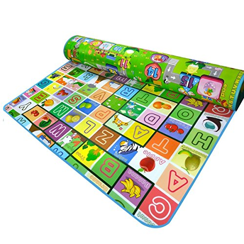 Double-Sided PE Waterproof Baby Crawling Thickening Mat Drawing Alphabet Figures Animals Pattern 71''X47''X0.2'' (Baby Double Sided Mat)