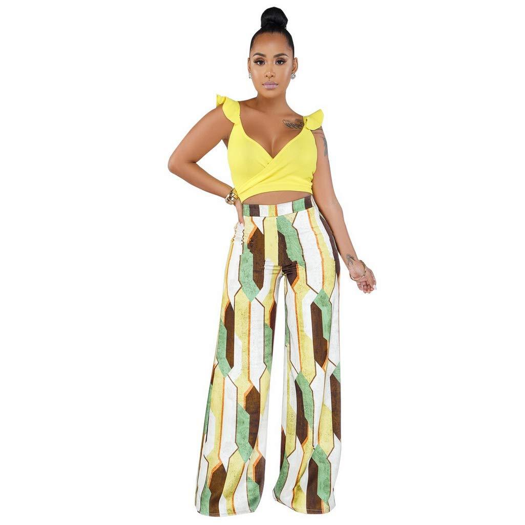 Fafalisa Women Ruffles Shoulder v-Neck Crop top Plaid Bohemian Loose Straight Pants Suit 2pcs Set Tracksuit Boho Outfit (Yellow,L)
