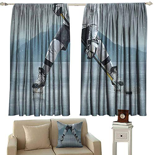 Shades Window Treatment Valances Curtains Husband,Gifts from Wife Ice Hockey Player on Ice Skating Athletic Activity Frozen Outdoors Equipment Snow Game Winter Sports,Gray Denim Blue Black -