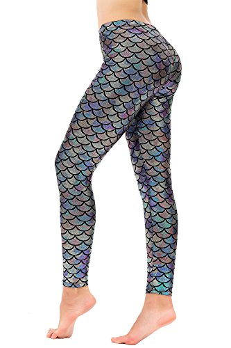 - Diamond keep it Women's Mermaid Fish Scale Printing Full Length Leggings (X-Large, Black Silver)