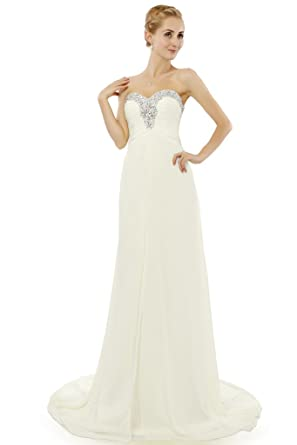 HONGFUYU Elegant Sweetheart Formal Party Bridesmaid Evening Dress Long Chiffon Prom Gown Ivory UK26