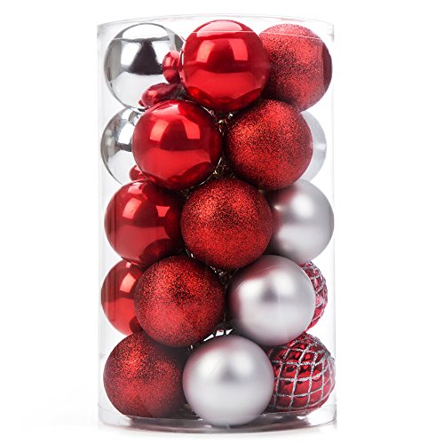 iPEGTOP Christmas Balls Ornaments - 25ct Shatterproof Classic Red Silver Shiny Glitter Matte Baubles Holiday Wedding Party Christmas Tree Decorations, ()