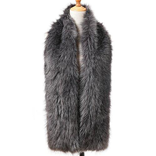Fur Silver (Dikoaina Women's Winter Fake Faux Fur Scarf Wrap Collar Shawl Shrug)