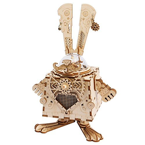 ROBOTIME 3D Laser Cut Wooden Puzzle Music Box Kit DIY Robot Toy RoboBunny Craft Kit for Adult (Box 3d Puzzle)