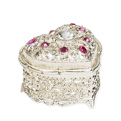 Pink Jeweled Heart Shaped Silver Tone Metal Music Box Plays Somewhere Out There