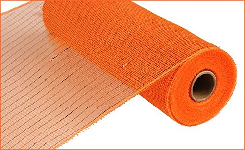10 inch x 30 feet Deco Poly Mesh Ribbon - Metallic Orange with Copper Foil