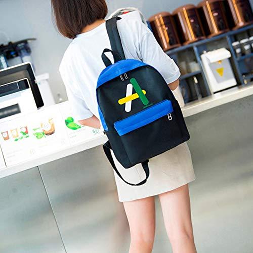 À Bovake En Neutre Mode Bandoulière Toile Dos A Épaule Étudiant Sac Zipper Bleu ppRwrq5