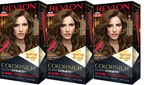 Revlon Colorsilk Buttercream Hair Dye, Light Natural Brown, 3 Count