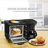 Elite Cuisine 3-in-1 Breakfast Station Toaster Oven with Timer, Griddle, Regular, Black