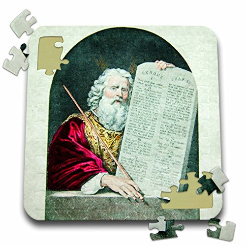 - 3dRose Scenes from the Past Magic Lantern - Moses and the Ten Commandments Vintage Magic Lantern Slide 1910-10x10 Inch Puzzle (pzl_246018_2)