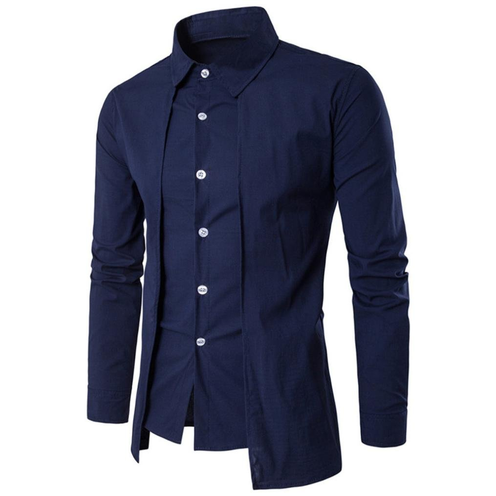 Men Dress Shirts Daoroka Summer Cotton Casual Long Sleeve Business Work Wear Button Collar Blouse Casual Slim Fit Fashion Comfort Tops T Shirt (2XL, Blue)