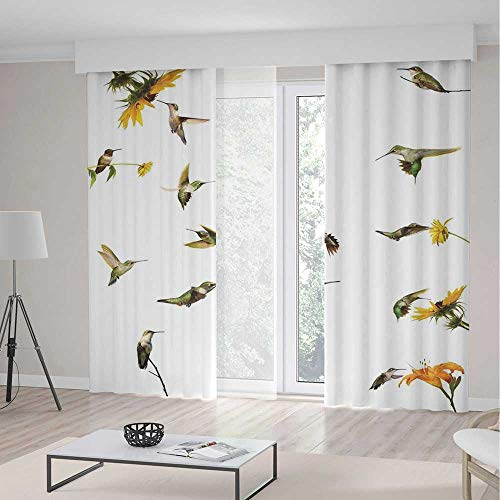 Hummingbird Collection 1 Light - Window Curtains,Hummingbirds Decor,Living Room Bedroom Decor,Collection of Hummingbirds in Motion and at Rest Sunflowers Summer Fun,2 Panel Set,157
