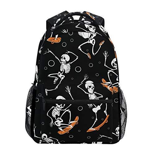 YCHY Vector Black Skateboarding Jumping Skeletons Haloween Lightweight School Backpack Students College Bag Travel Hiking Camping Bags ()