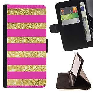 BullDog Case - FOR/LG G3 / - / gold lines pattern bling pink glitter /- Monedero de cuero de la PU Llevar cubierta de la caja con el ID Credit Card Slots Flip funda de cuer