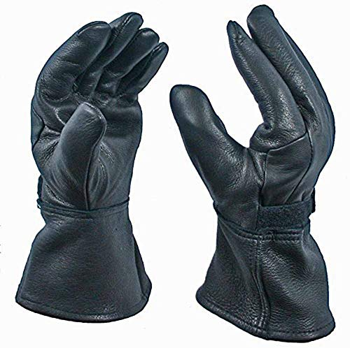 Black Gauntlet Deerskin Motorcycle Glove Unlined (Medium) ()