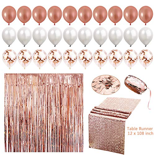 Sharlity 34pc Rose Gold Party Decoration Set, Table Runner, foil curtain, Confetti, Ribbon, Confetti and Latex Balloon for Wedding Reception and Party Supplies]()