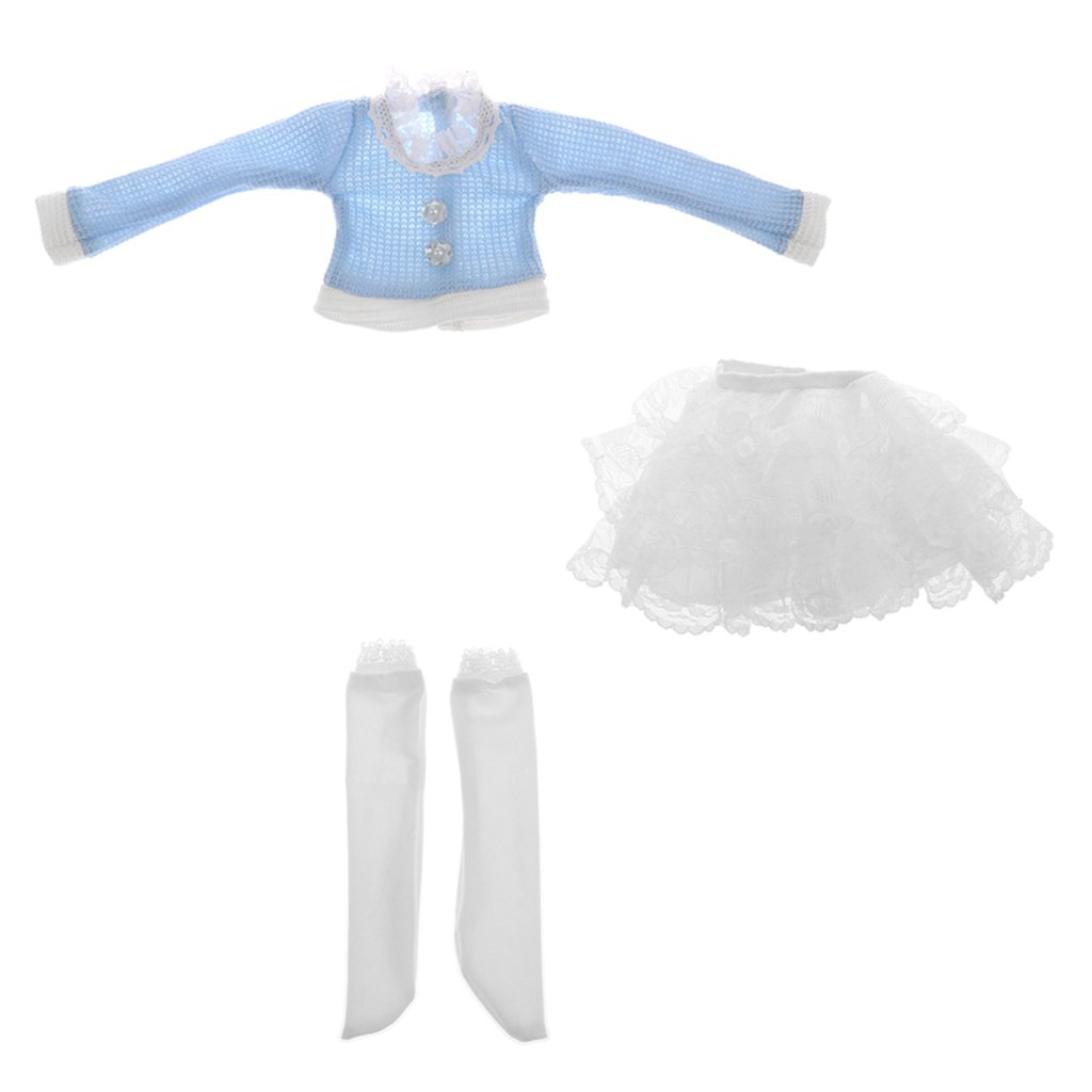 Sharplace Trendy Doll Blue Sweater Lace Skirt & Socks Outfit for 1/3 BJD SD DD DOA MSD Dolls Dress Up