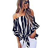 Women's Off Shoulder Tops Striped 3/4 Bell Sleeve Blouses Tops Front Tie Knot Casual Chiffon Shirt Tops Blouses