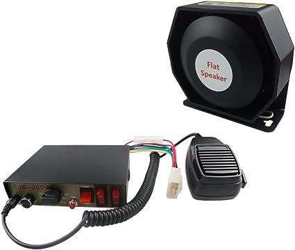Sirena de policía y negro soporte de altavoz, DC12 V multi-tones Wired Control con micrófono altavoz sistema de PA electrónico ajuste de emergencia para Policía, Ambulancia, lucha contra incendios y ingeniero vehículos: