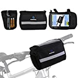 Bike Front Bar Bag,Bicycle Cycling Basket Waterproof Handlebar Bag with Silver Grey Reflective Stripe for Outdoor Activity Bicycle Pack Storage Carrier Accessories Black 3.5L