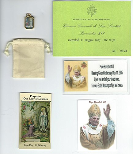 (Our Lady of Lourdes Saint/St Bernadette Gold Plated Medal Blessed by Pope Benedict XVI with Holy Prayer Card)