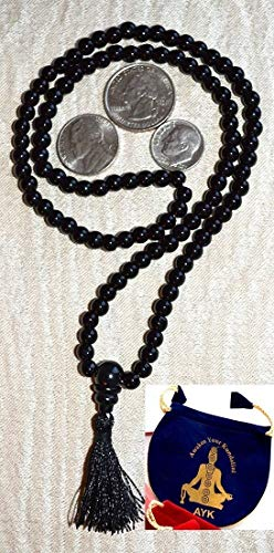 (Black onyx mala beads necklace | AAA grade 8 mm 108 Buddhist prayer beads japa mala | Energized Reiki healing crystal & gemstone onyx beads w/free velvet rosary pouch | om chakra mala | US Seller.)