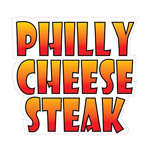 Die-Cut Sticker Multiple Sizes Philly Cheese Steak Style A Restaurant & Food Snacks Indoor Decal Concession Sign Golden Brown - 18in Longest Side